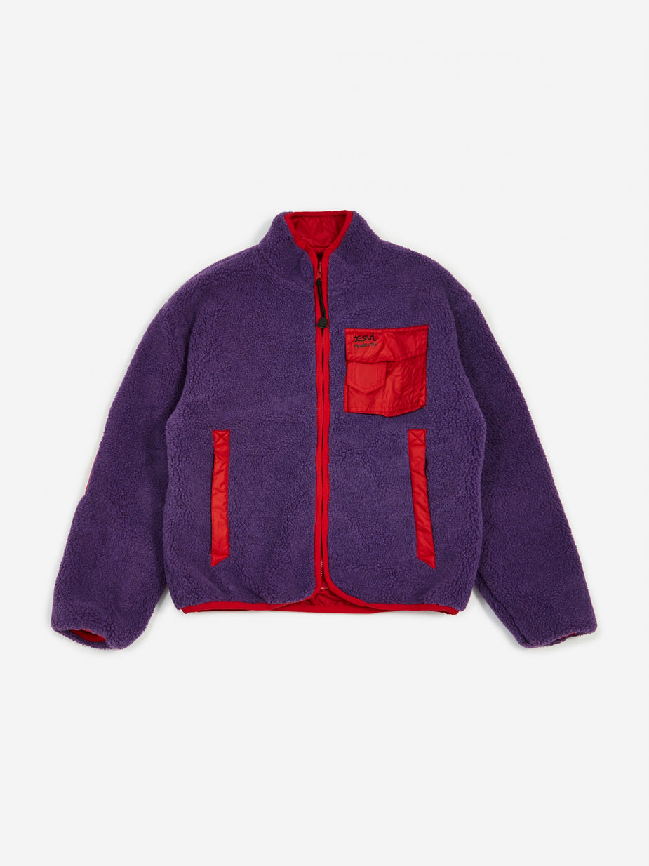 MadeMe MadeMe x X-Girl Reversible Fleece Jacket - Purple/Red - Red