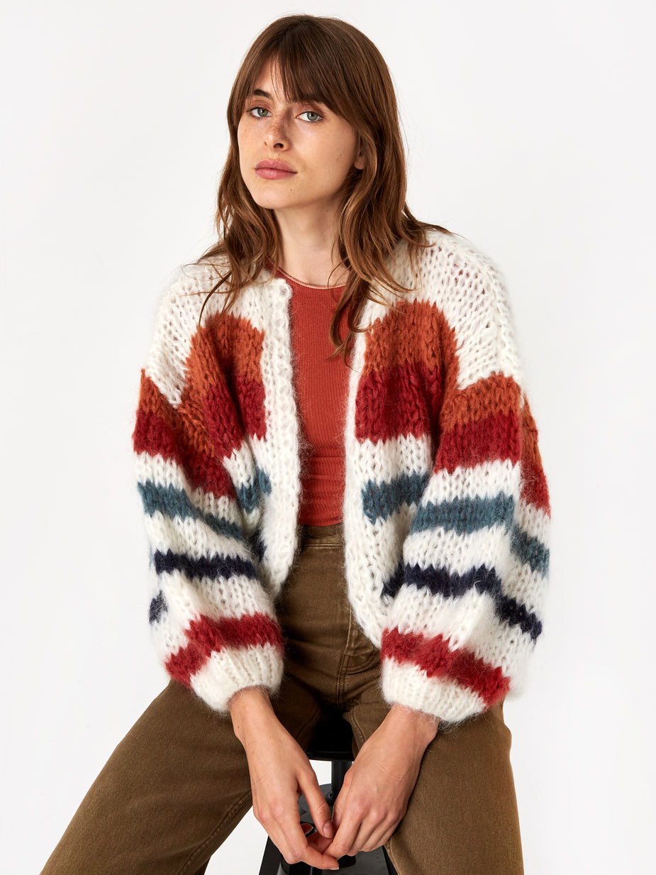 Maiami Maiami Mohair Big Stripe Cardigan - Cream/Copper - Neutrals