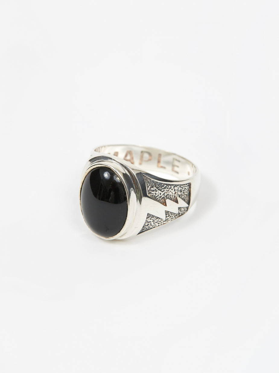 Maple Maple Lightning Signet Ring - Silver/Onyx - Silver