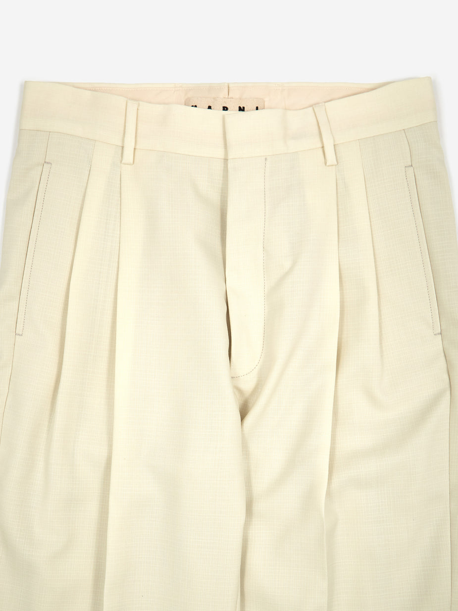 Marni Marni Cotton Wool Tonic Trouser - Ivory - Neutrals