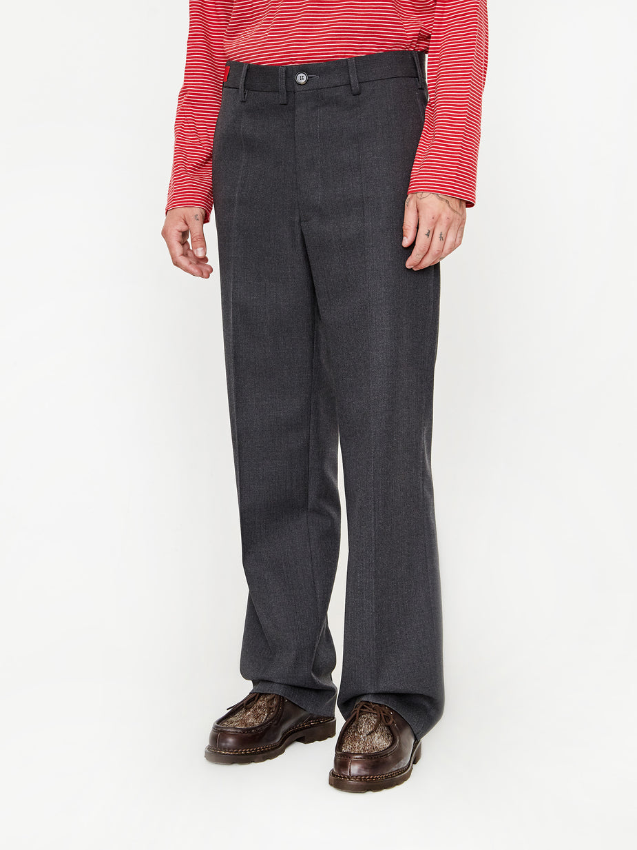 Marni Marni Textured Wool Pinstripe Trouser - Charcoal Stripe - Grey