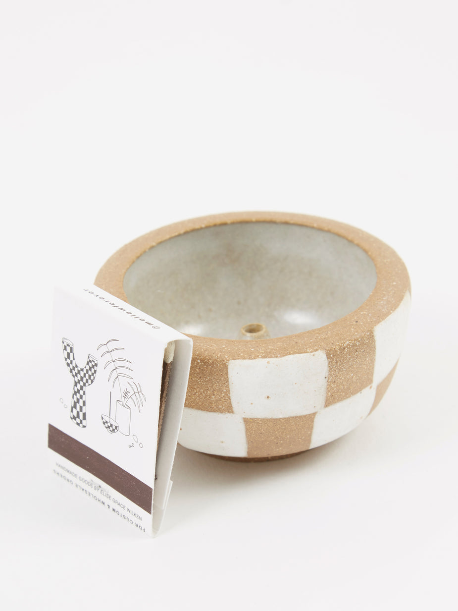 Mellow Mellow Incense Bowl Small - Light Brown Outside Check - Brown