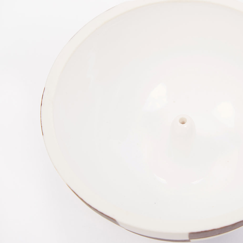 Mellow Mellow Large Incense Bowl - Half Painted Porcelain Check - Brown