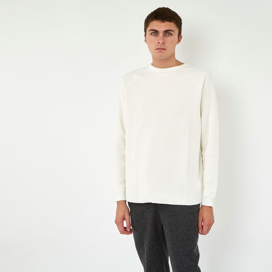Beams Plus Beams Plus Thermal Crew L/S T-Shirt - White - White