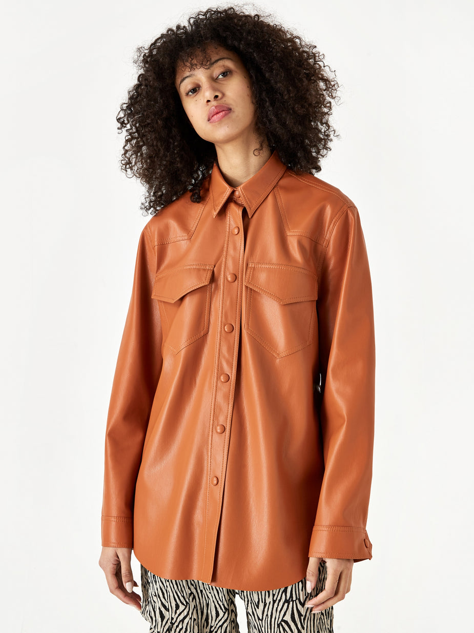 Nanushka Nanushka Eddy Vegan Leather Longsleeve Shirt - Burnt Orange - Orange