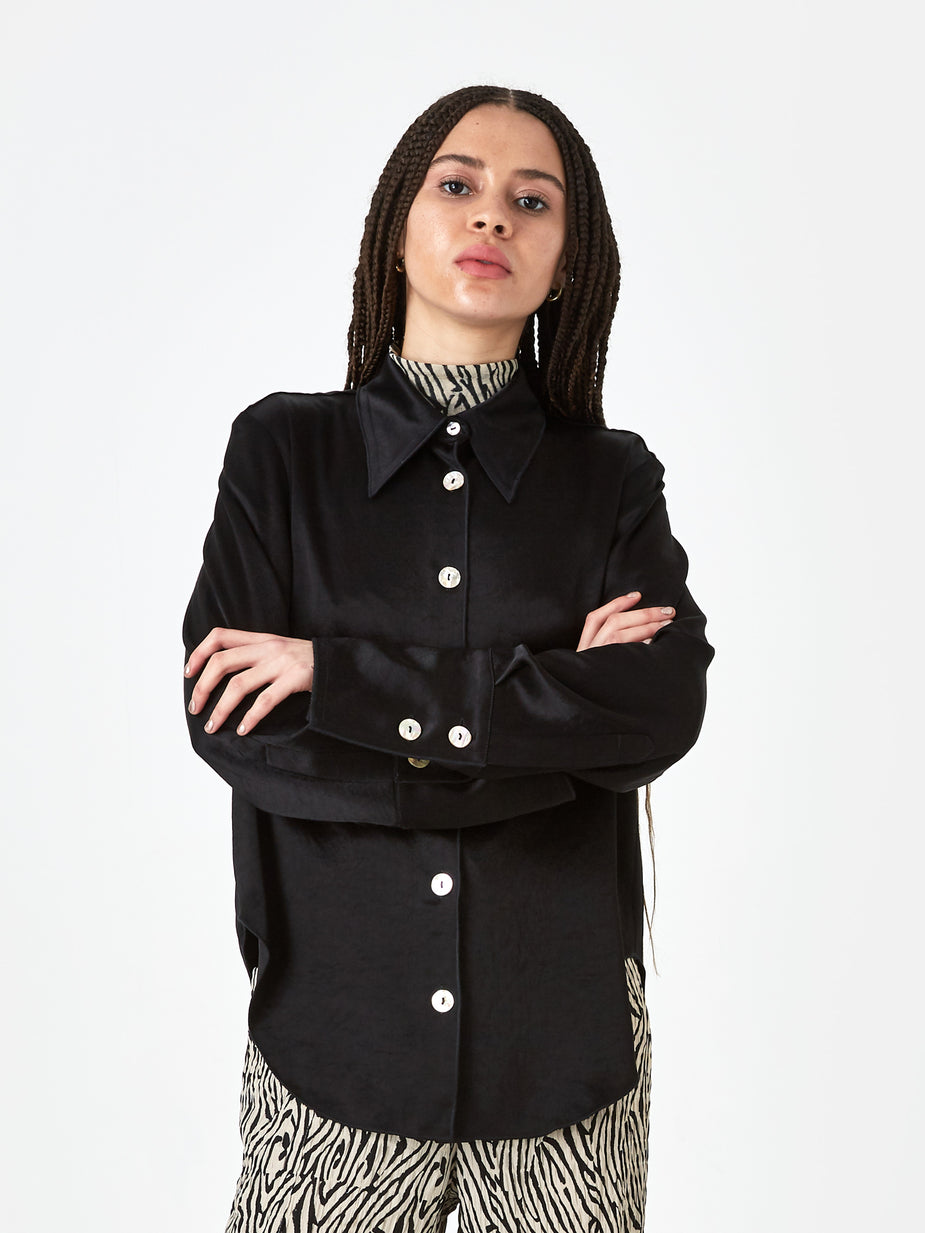 Nanushka Nanushka Mandine Washed Satin Shirt - Black - Black