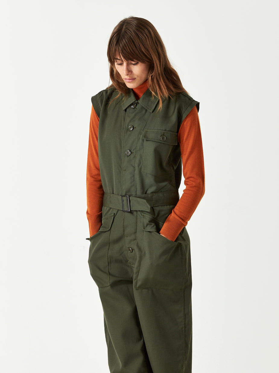 Needles Needles Cut Off Sleeve Jumpsuit - Olive - Green