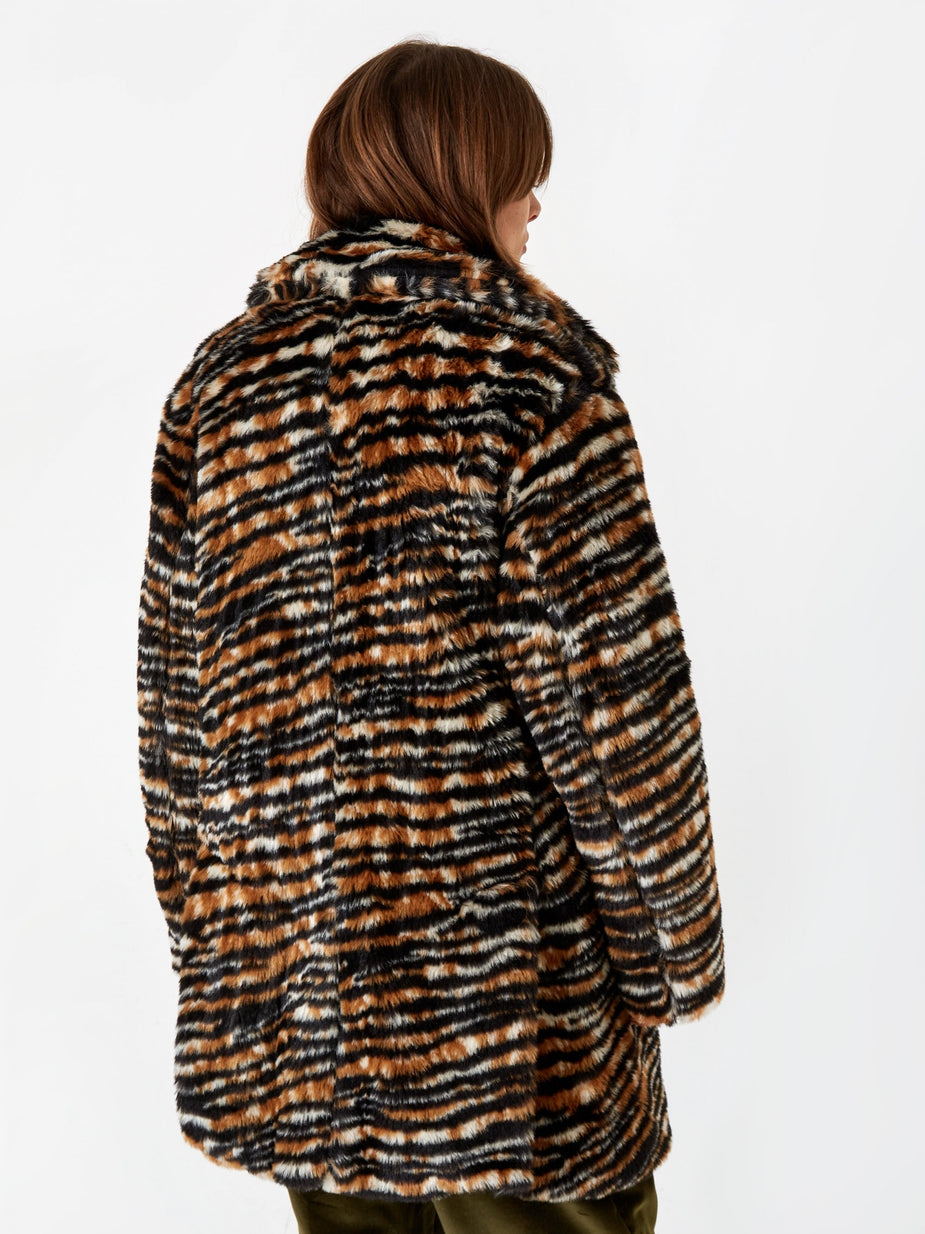 Needles Needles Fur Pea Coat - Tiger. - Animal Print