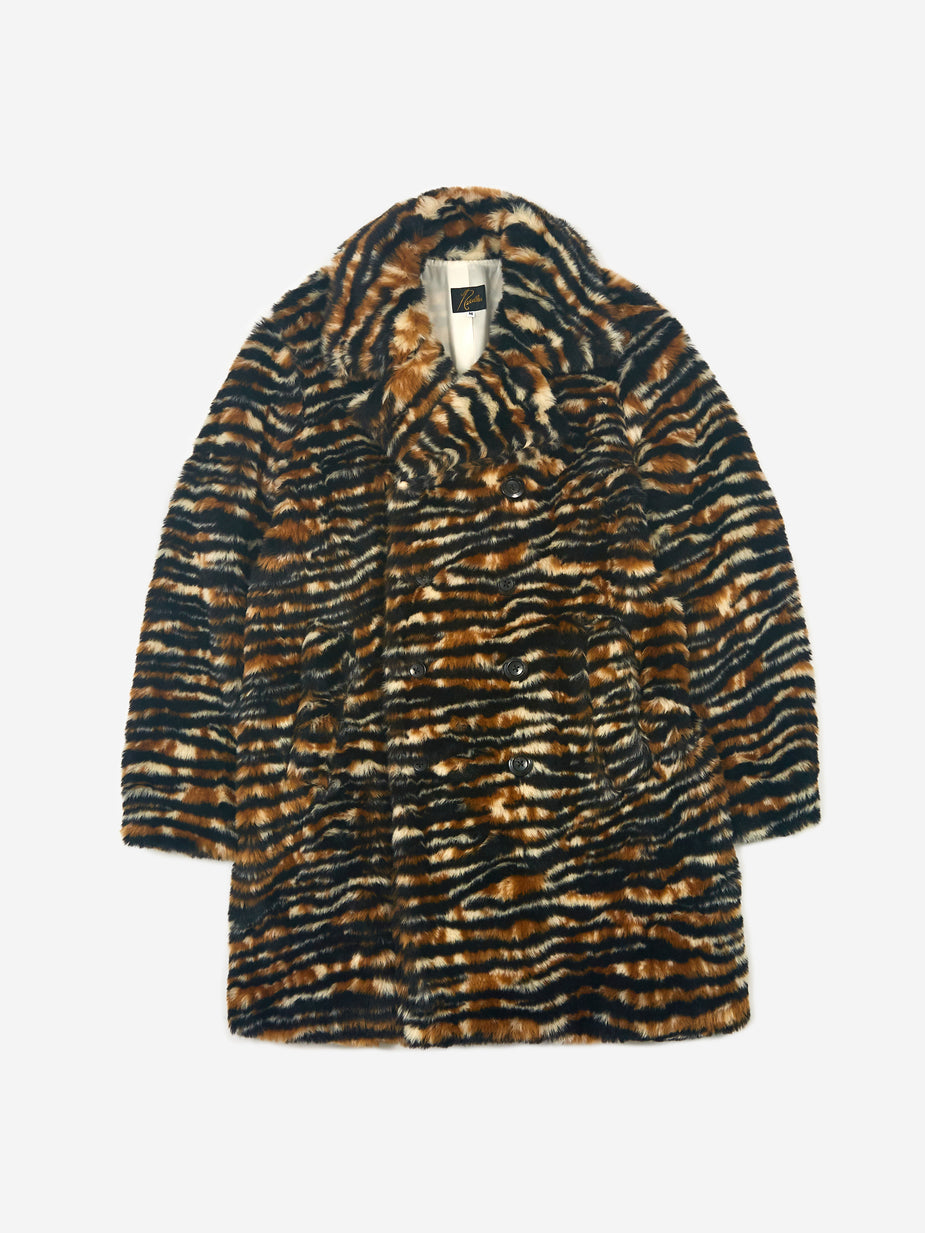 Needles Needles Fur Pea Coat - Tiger - Animal Print