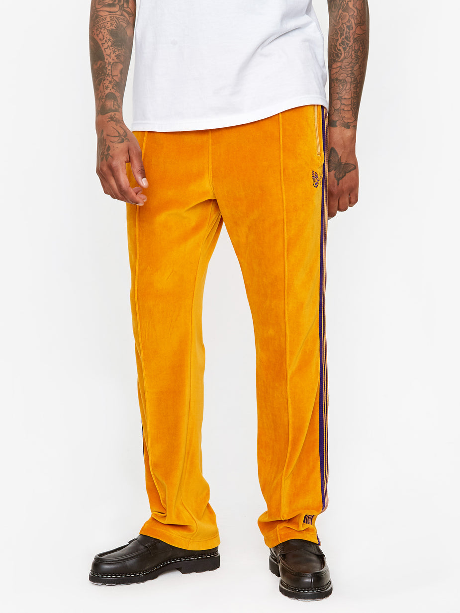 Needles Needles Narrow Track Pant Velour - Mustard - Yellow