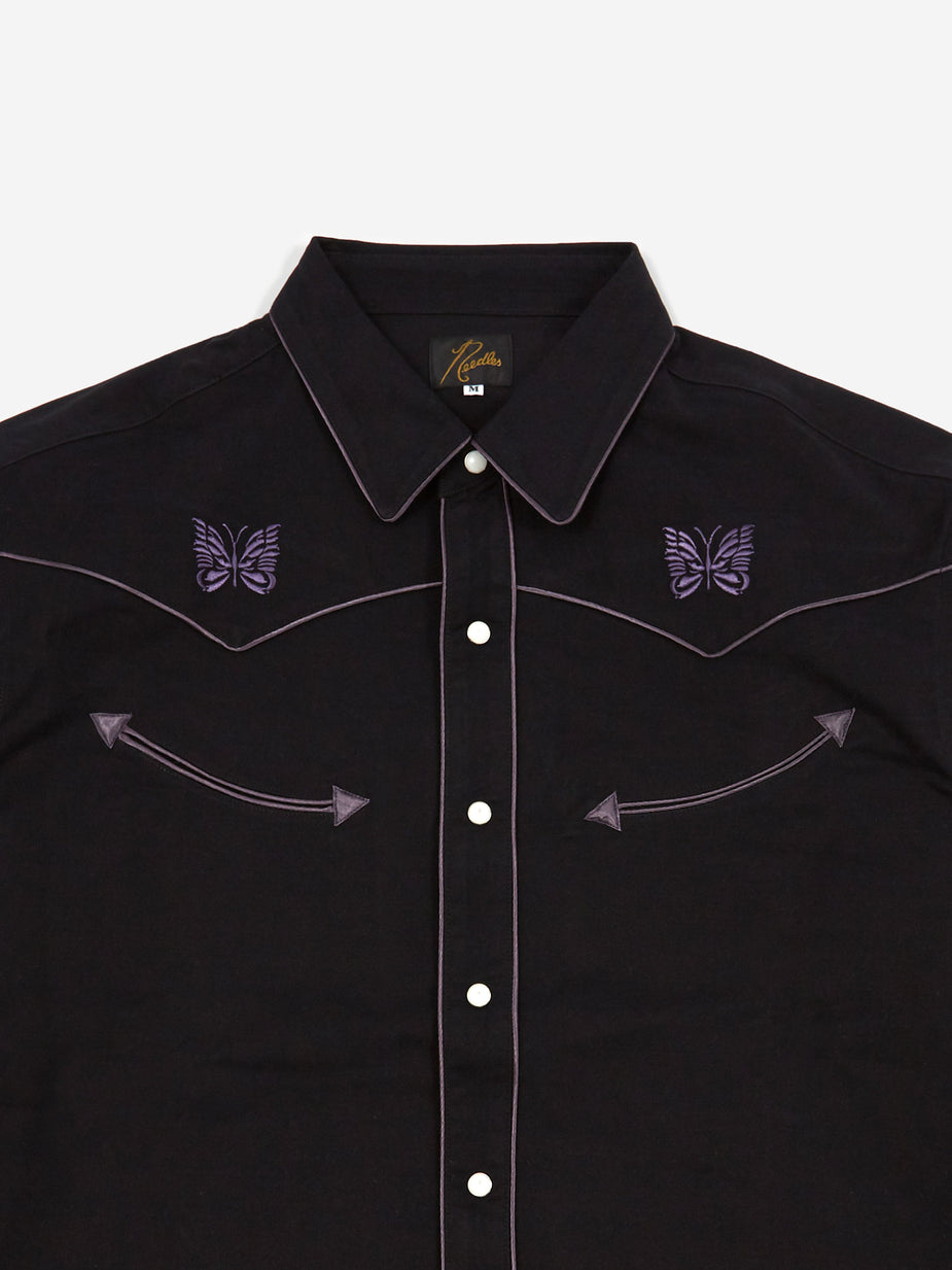 Needles Needles Papillion Embellished Cowboy Shirt - Black - Black