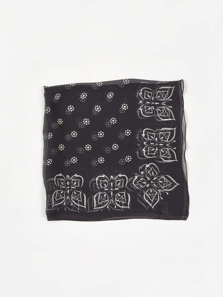 Needles Needles Silk Crepe Bandana Scarf - Charcoal - Grey
