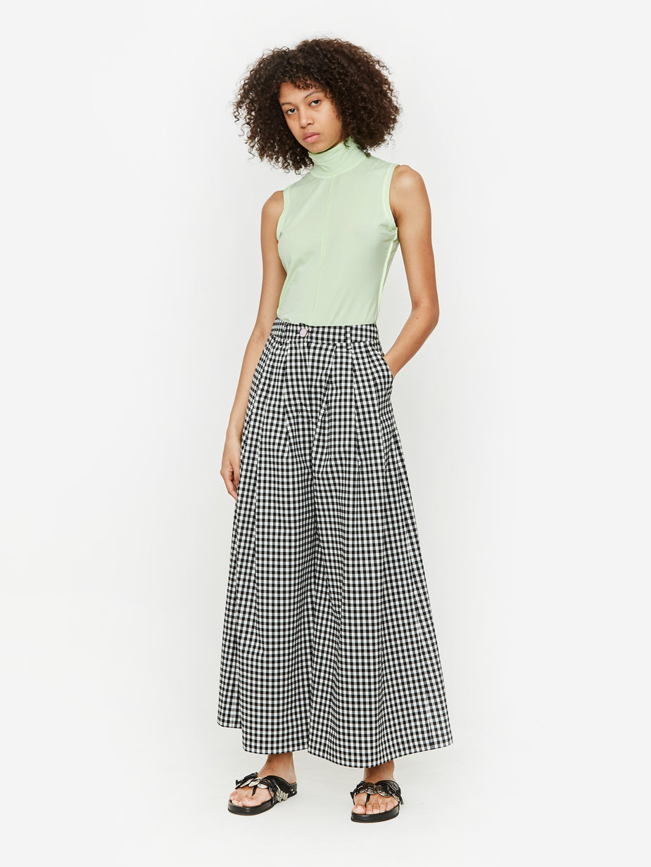Neul Neul Button Detail 3 Tuck Wide Leg Trouser - Black Gingham - Black