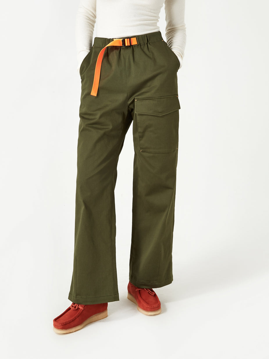 Neul Neul Colour Pointed Webbing Belt Pant - Artichoke Green - Green