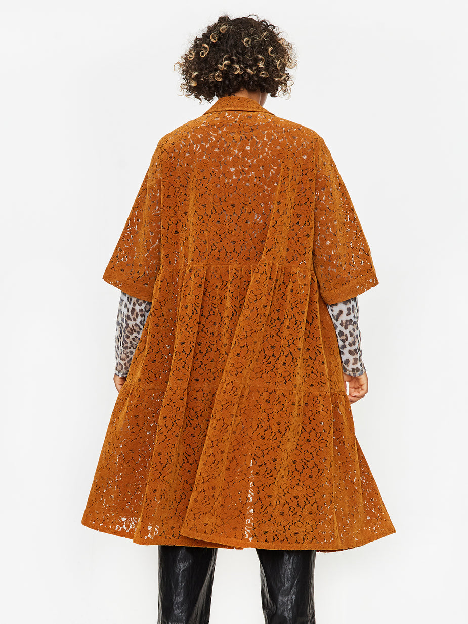 Neul Neul Lace Tiered Shirt Dress - Brown - Brown