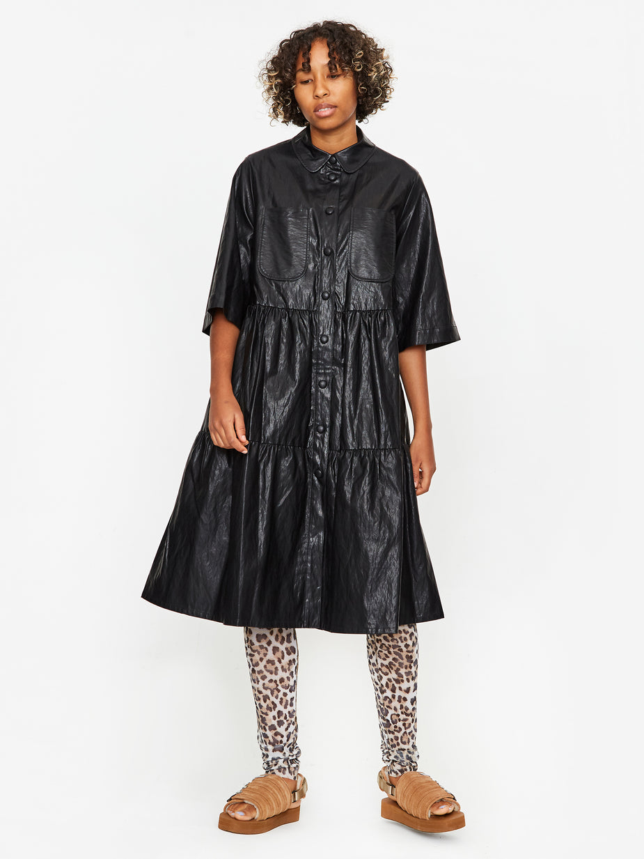 Neul Neul Vegan Leather Tiered Shirt Dress - Black - Black