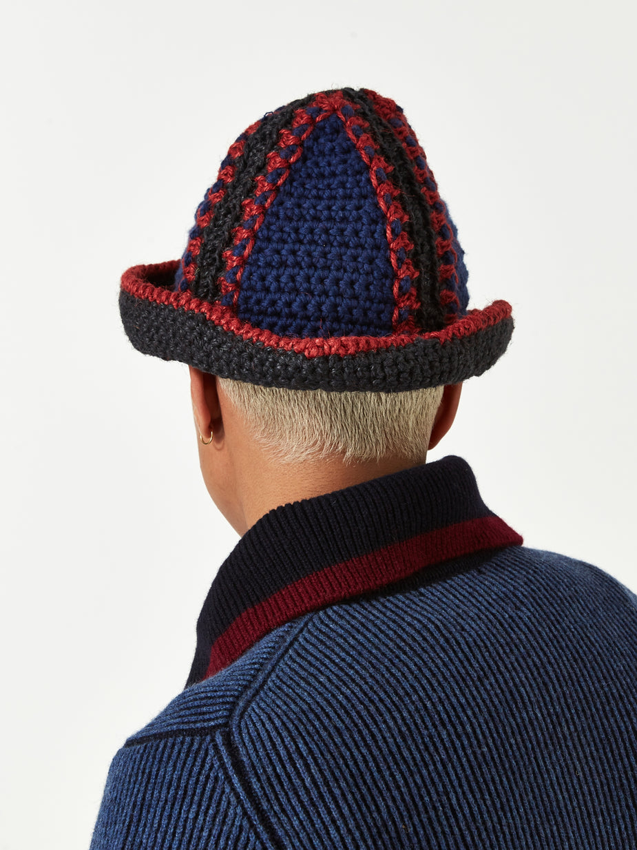 Nicholas Daley Nicholas Daley Jute Bucket Hat - Navy/Red/Black - Red