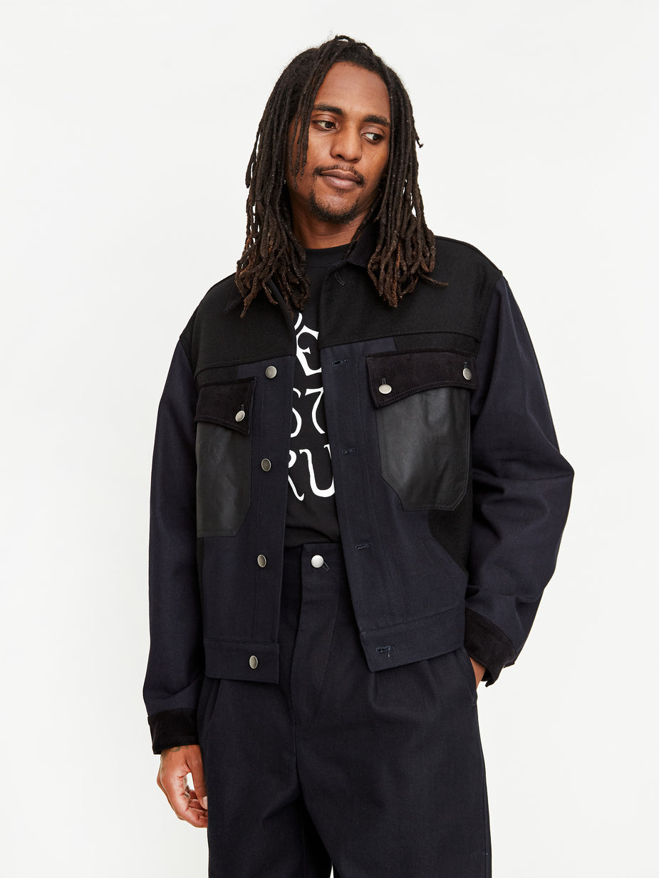 Nicholas Daley Nicholas Daley Mixed Denim Jacket - Indigo/Black - Blue