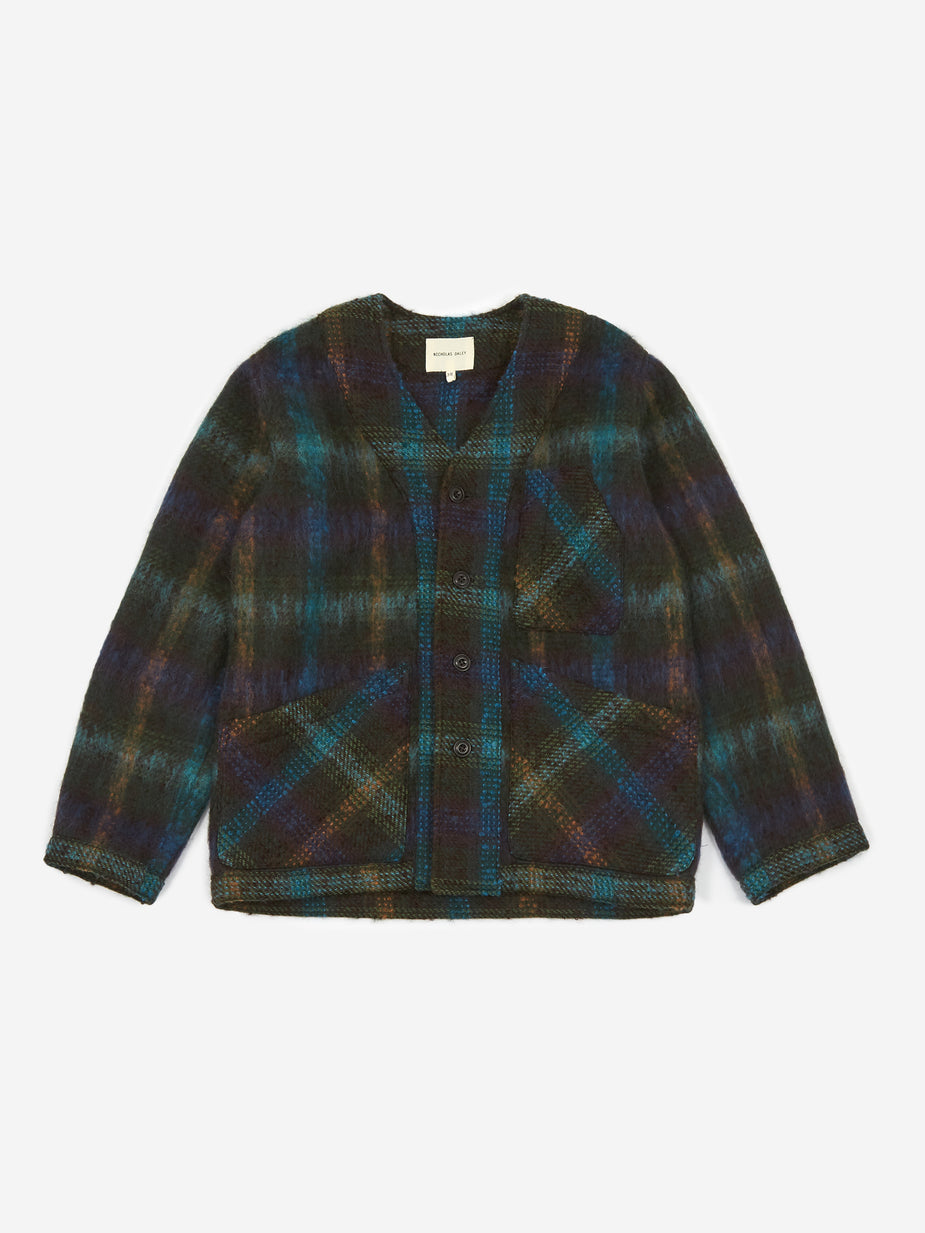 Nicholas Daley Nicholas Daley Three Pocket Cardigan - Navy Check - Navy