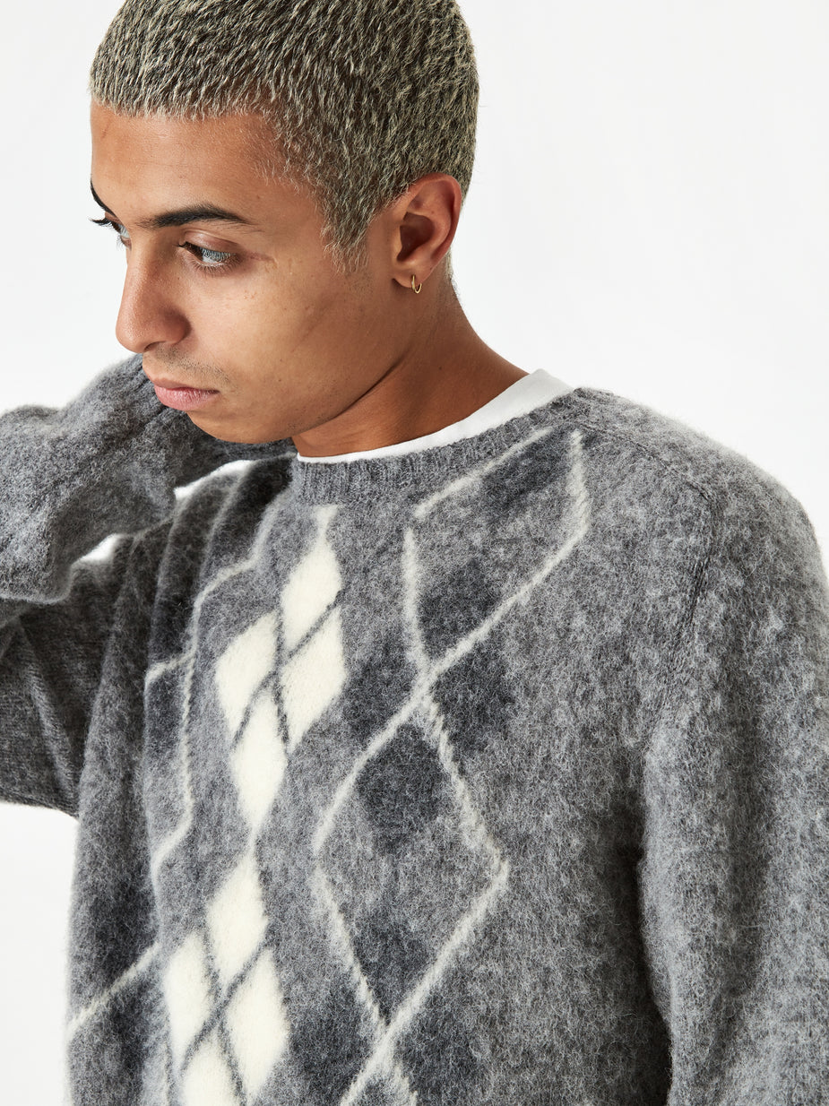 Norse Projects Norse Projects Birnir Brushed Argyle Jumper - Light Grey - Grey