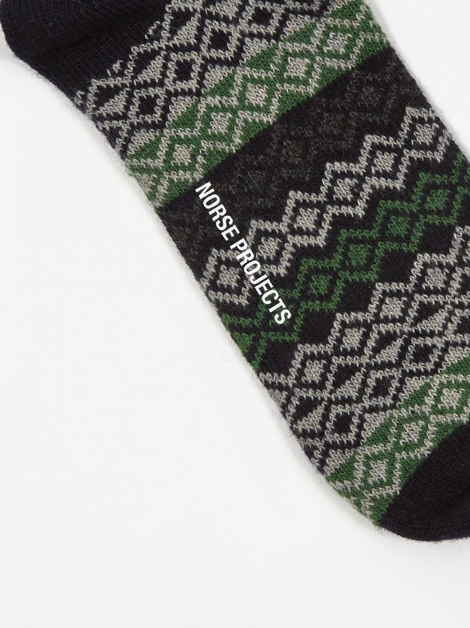 Norse Projects Norse Projects Bjarki Fairisle Socks - Dark Navy - Blue