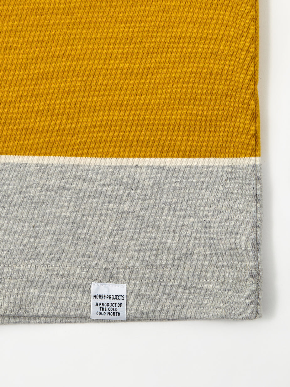 Norse Projects Norse Projects Johannes 3 Stripe Shortsleeve T-Shirt - Montpellier Yellow - Yellow