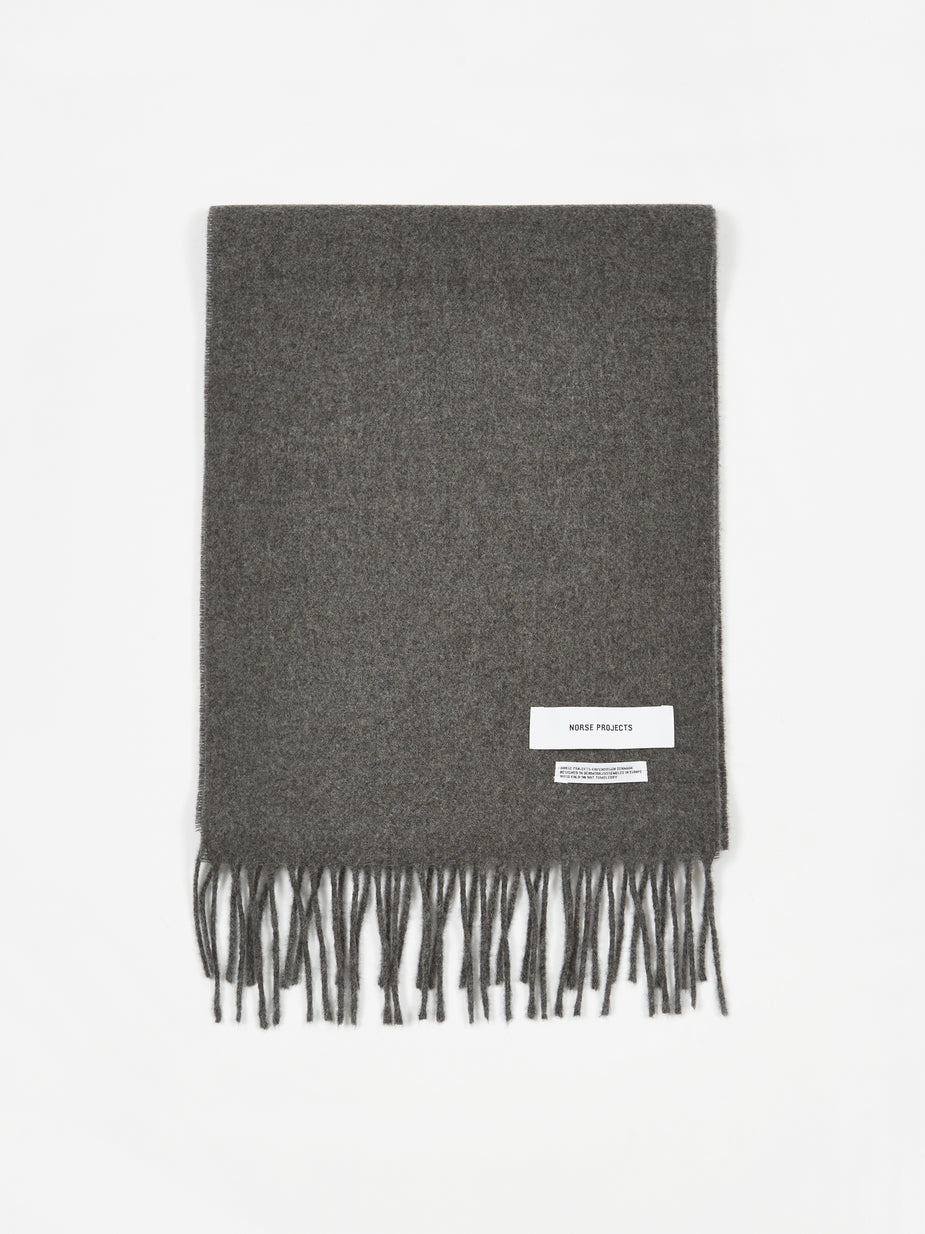Norse Projects Norse Projects Lambswool Scarf - Charcoal Melange - Grey