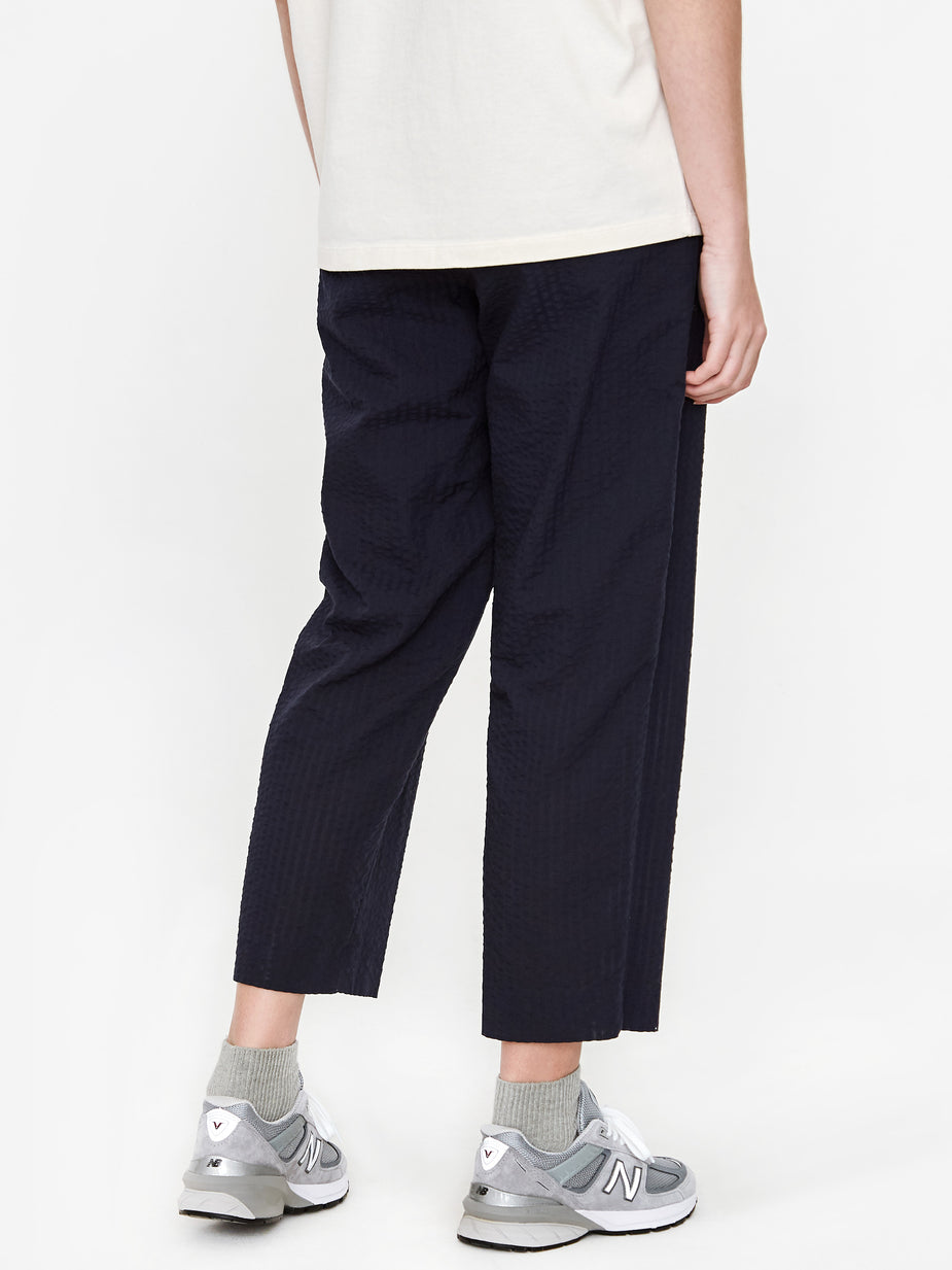Norse Projects Norse Projects Nine Cropped Seersucker Trouser - Dark Navy - Blue