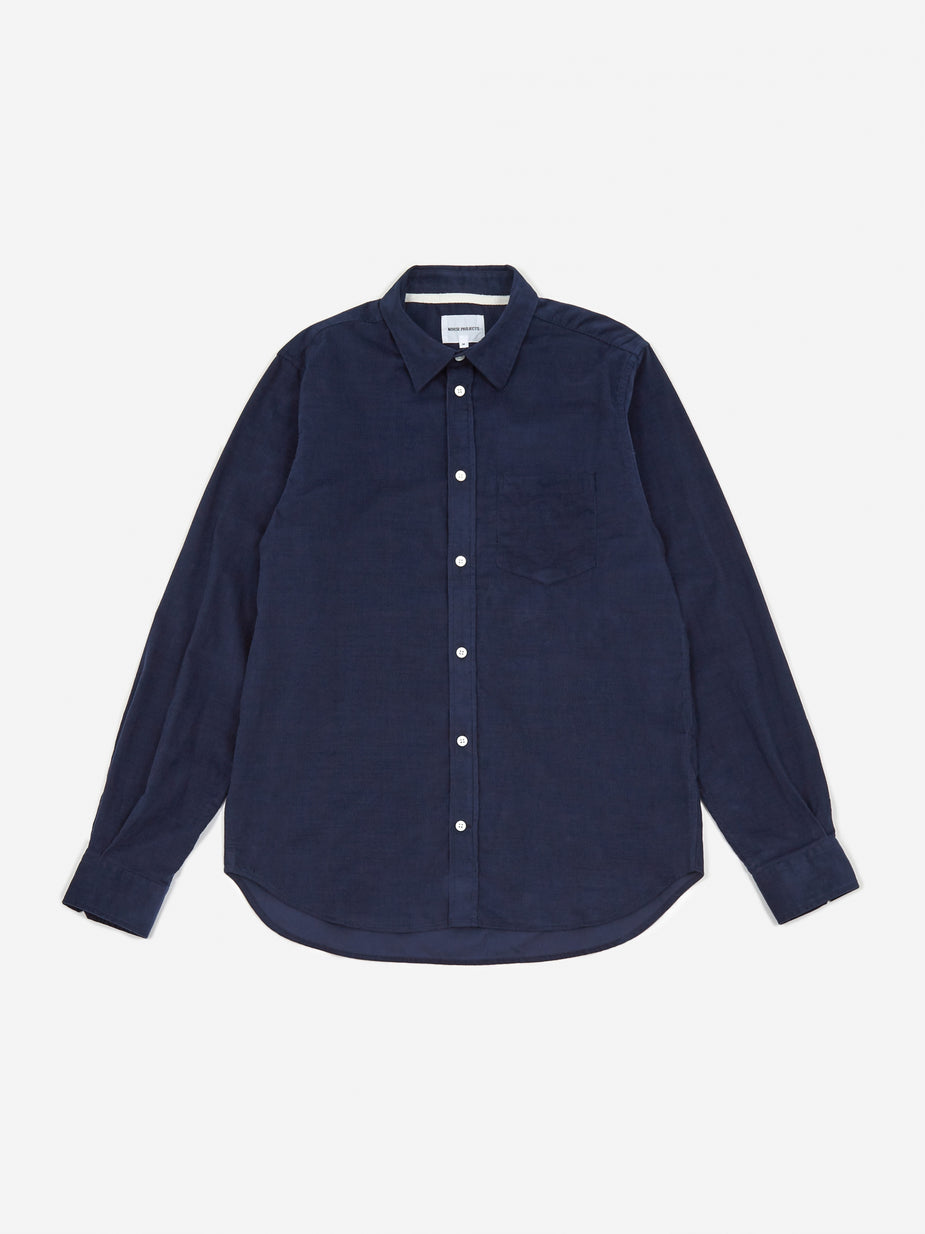 Norse Projects Norse Projects Osvald Corduroy Shirt - Navy - Blue