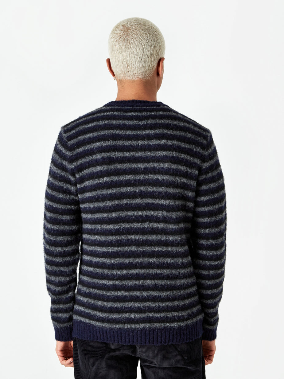 Norse Projects Norse Projects Sigfred Brushed Stripe Jumper - Dark Navy - Blue
