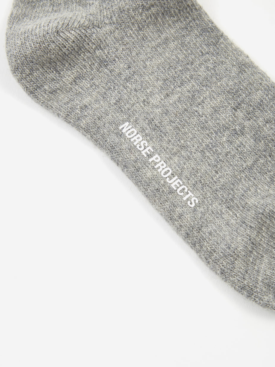 Norse Projects Norse Projects Siggy Wool Sock - Light Grey Melange - Grey