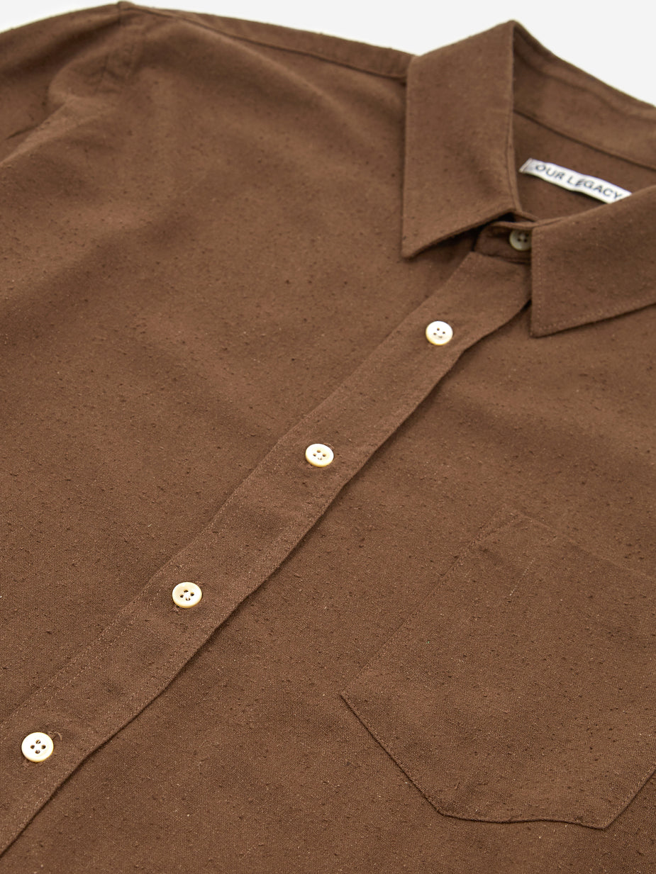 Our Legacy Our Legacy Classic Longsleeve Shirt - Hazel Brown Silk Noil - Brown