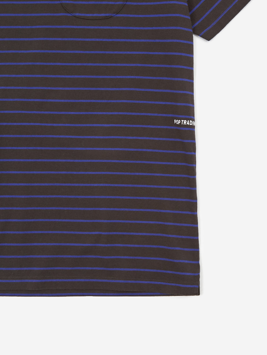 Pop Trading Company Pop Trading Company Casper Stripe Pocket T-Shirt - Black/Grape - Black
