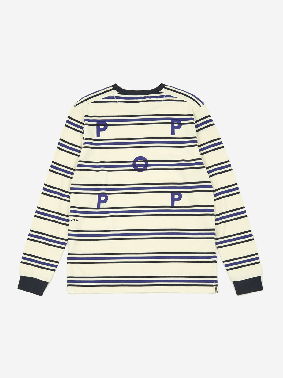 Pop Trading Company Pop Trading Company Harold Stripe Longsleeve T-Shirt - Off White/Grape - White