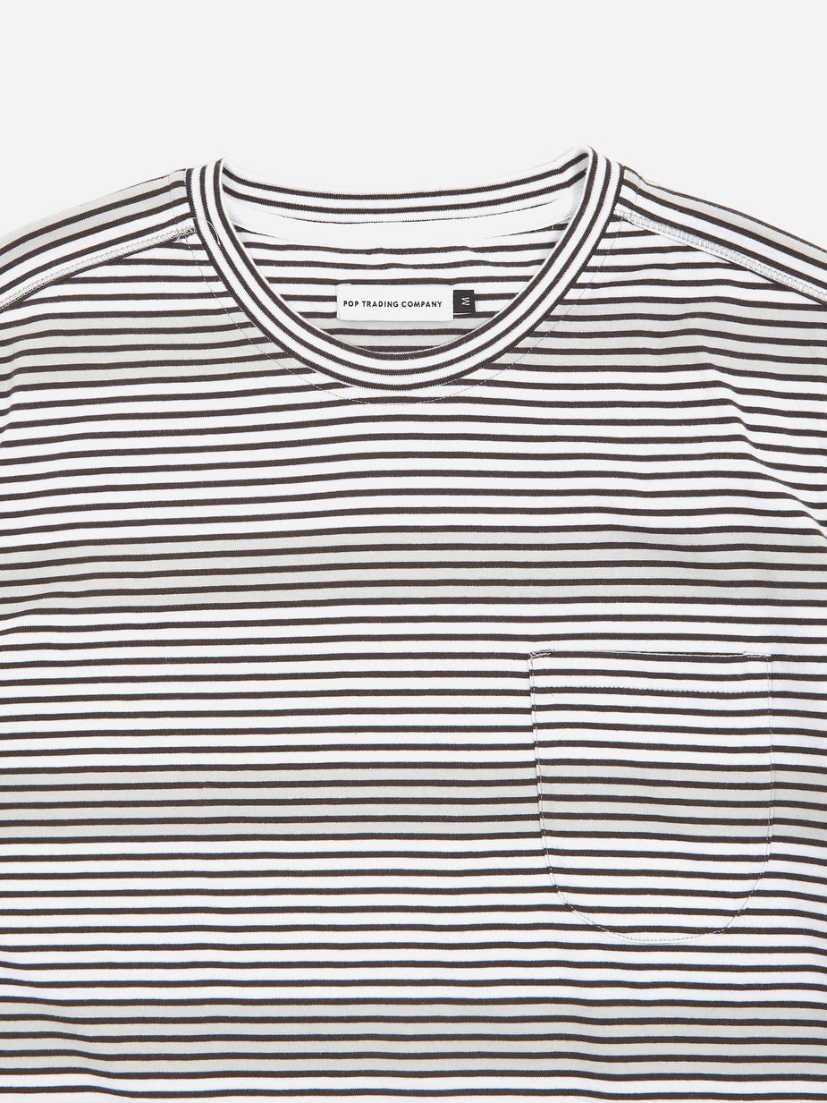 Pop Trading Company Pop Trading Company Hard Stripe T-Shirt - Anthracite/White - White