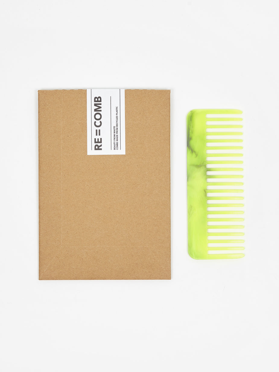 RE=COMB RE=COMB Recycled Plastic Flexible Hair Comb - Neon Yellow - Yellow