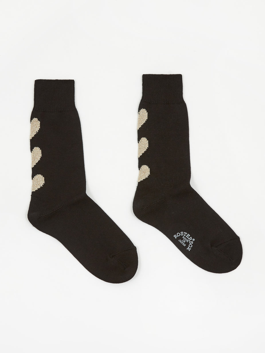 Rostersox Rostersox Three Heart Sock - Black - Black