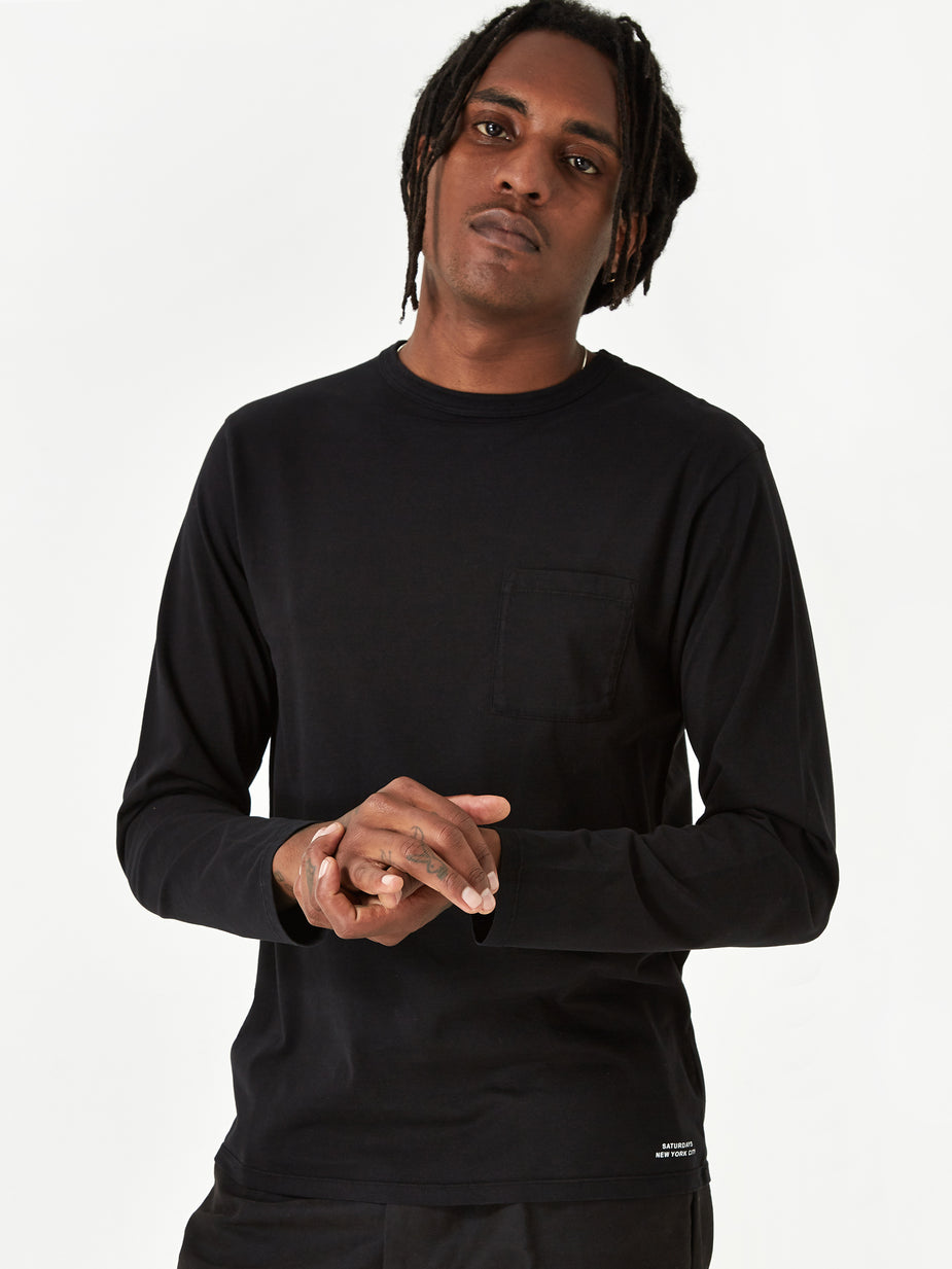 Saturdays NYC Saturdays NYC James Pima Longsleeve T-Shirt - Black - Black