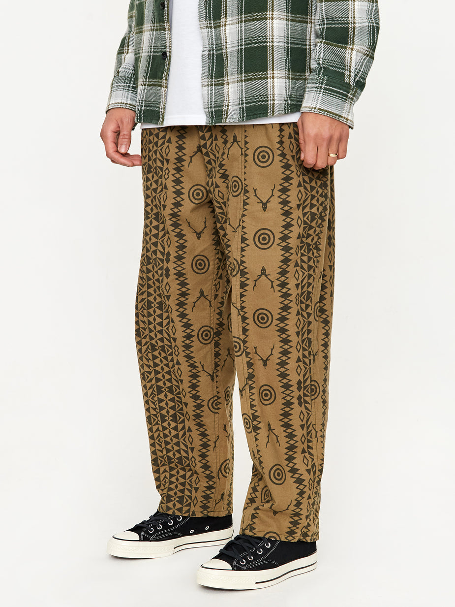 South2 West8 South2 West8 Army String Pant - Skull and Target - Brown