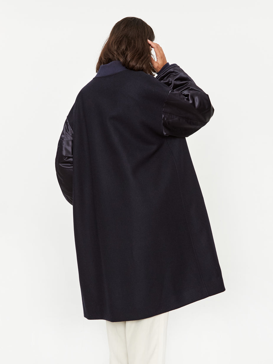 Stand Alone Stand Alone Contrast Sleeve Coat - Navy - Navy
