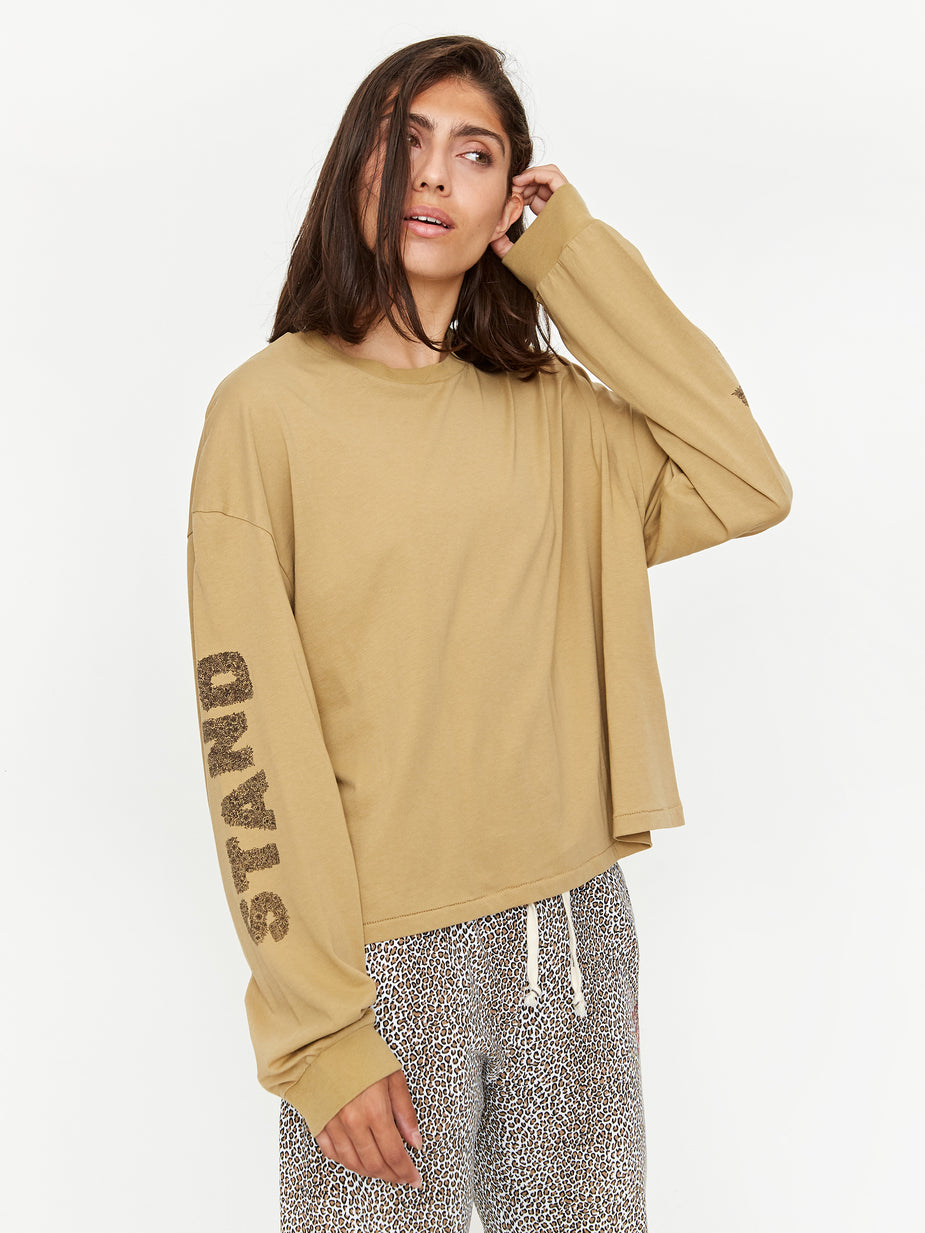 Stand Alone Stand Alone Logo Longsleeve T-Shirt - Beige - Brown