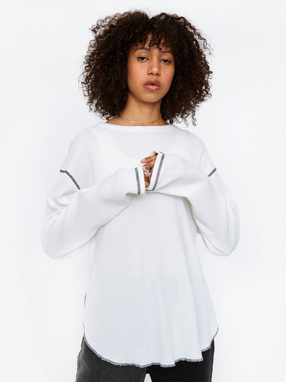 Stand Alone Stand Alone Waffle Longsleeve T-Shirt - White - White