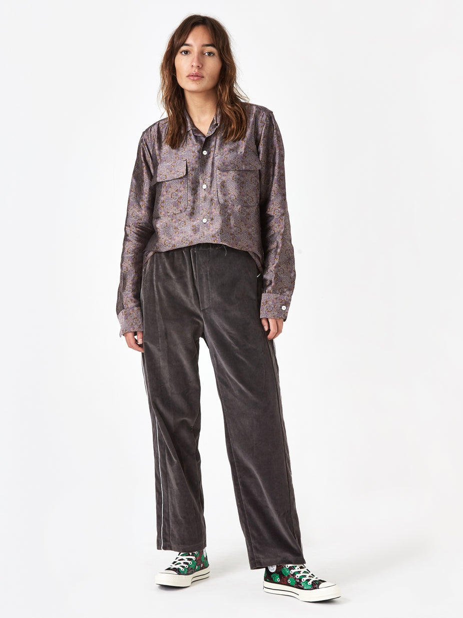 Stand Alone Stand Alone Velvet Loose Fit Trouser - Grey - Grey