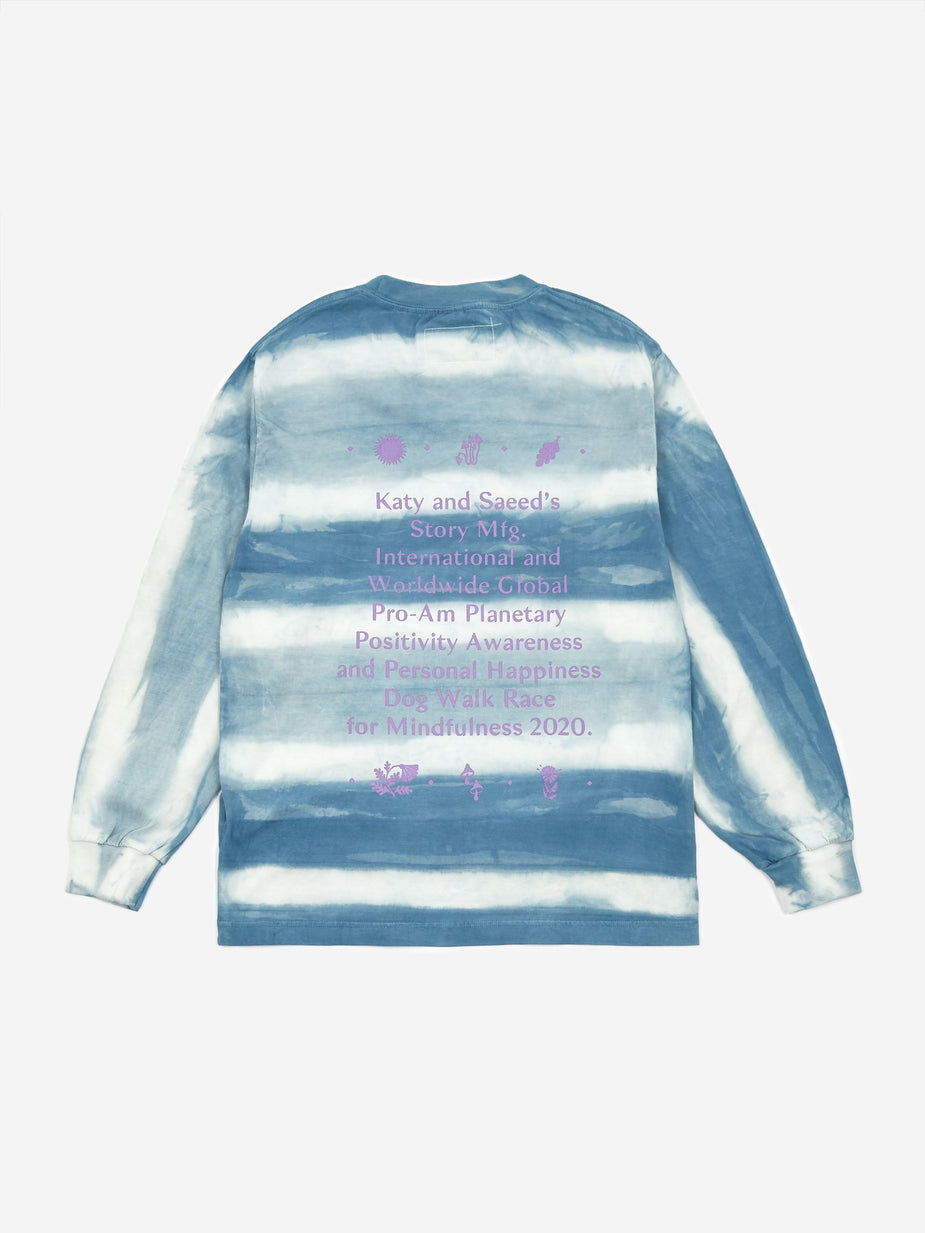 STORY mfg. STORY mfg. Grateful Longsleeve T-Shirt - Indigo Stripe. - Blue