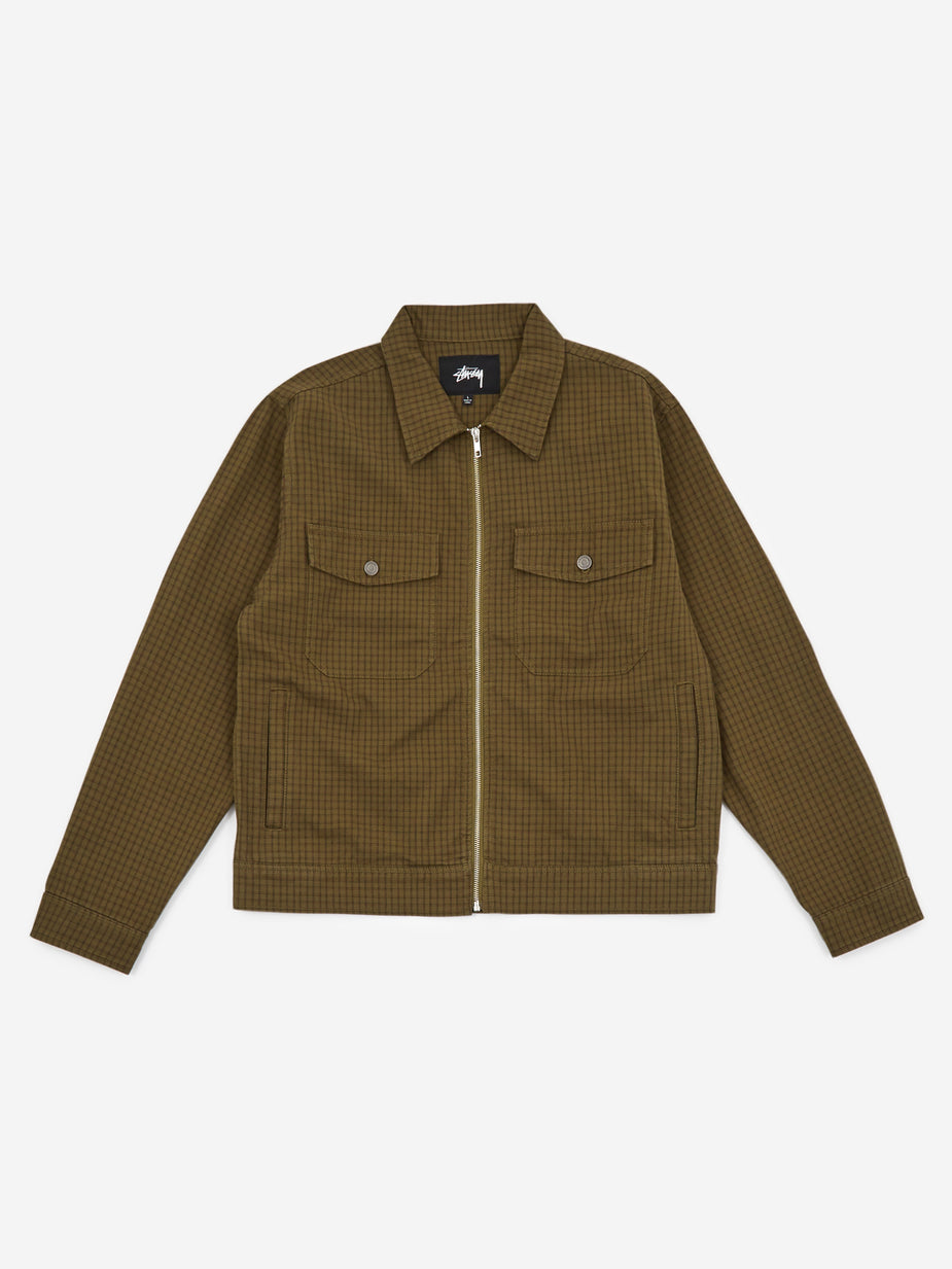 Stussy Stussy Check Garage Jacket - Olive - Green