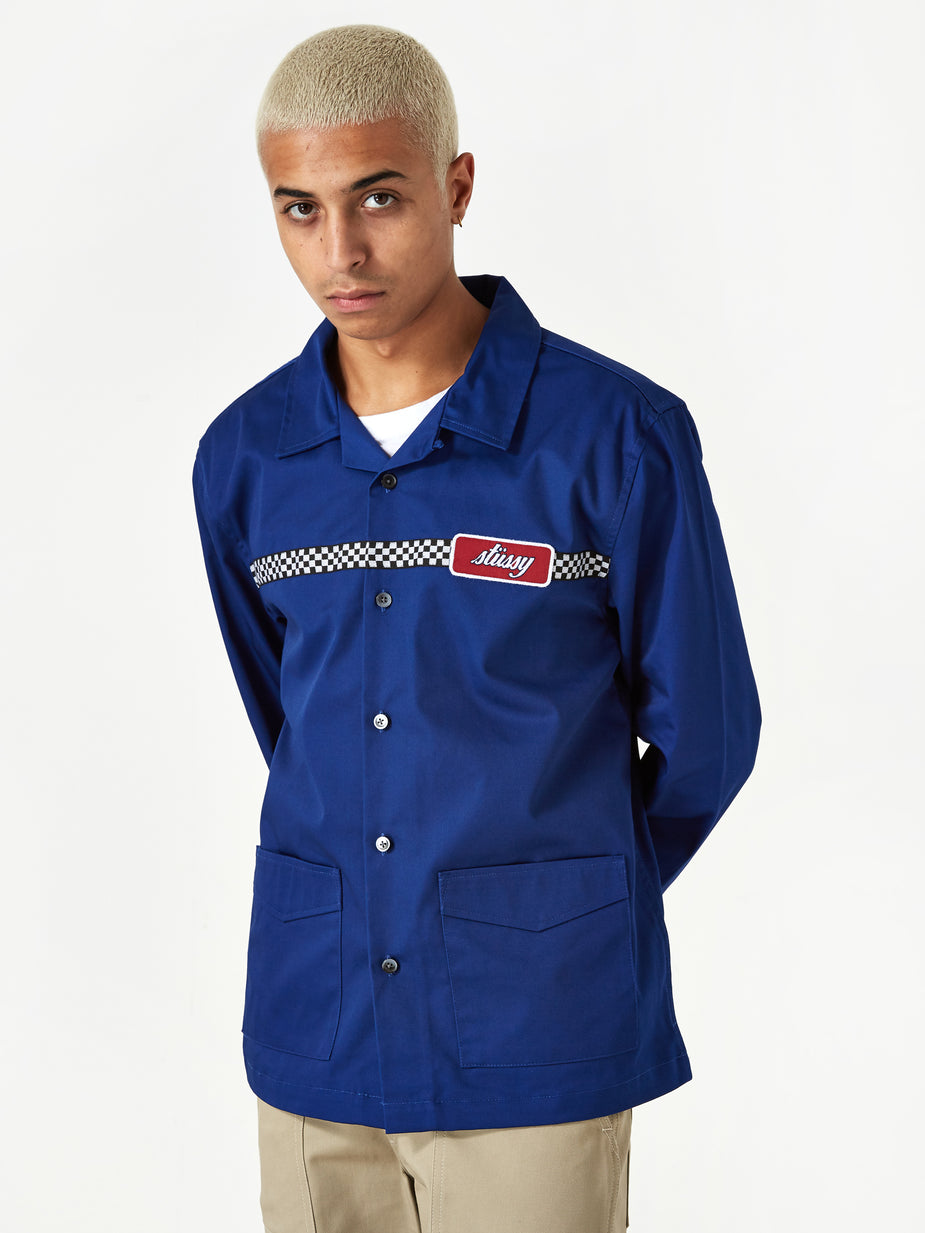 Stussy Stussy Checker Work Longsleeve Shirt - Blue - Blue