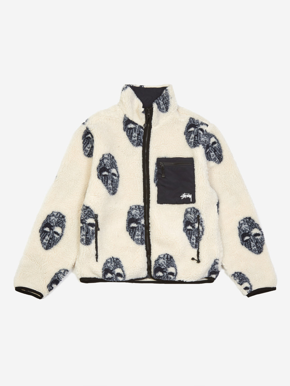 Stussy Stussy Mask Jacquard Sherpa Jacket - Natural - White