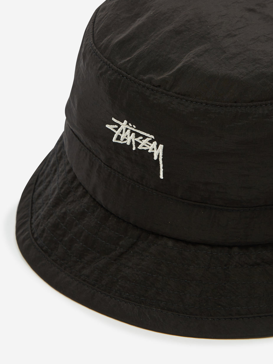 Stussy Stussy Metallic Nylon Bungee Bucket Hat - Black - Black
