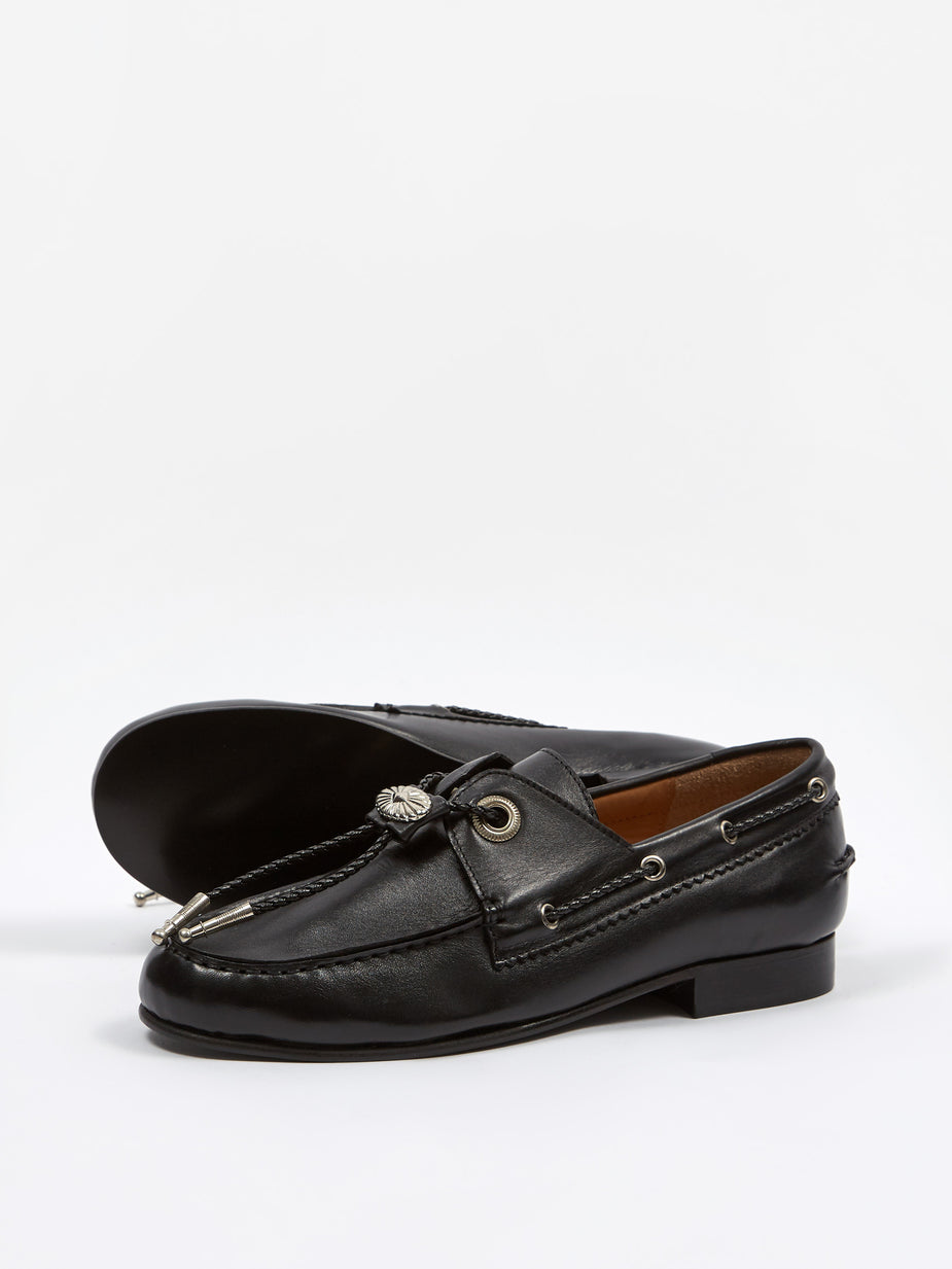 TOGA TOGA PULLA Embossed Leather Loafer - Black - Black