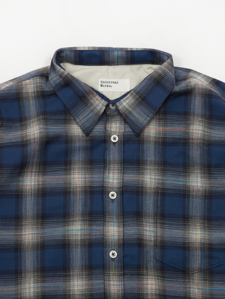 Universal Works Universal Works New Standard Longsleeve Shirt II - Polar Ghost Check Blue - Blue